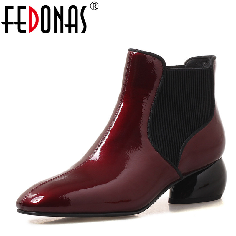 FEDONAS 1New Arrival Women Ankle Boots Autumn Winter Warm High Heels Shoes Woman Genuine Leather Square Toe Career Basic Boots 2018 new arrival genuine leather zipper runway autumn winter boots round toe high heels keep warm elegant women ankle boots l29