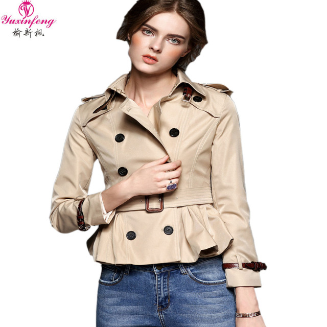 2017 Sring Fashion Womens Short Trench Coat Designer Long Sleeve Double Breasted Slim Belted High Quality Runway Windbreaker