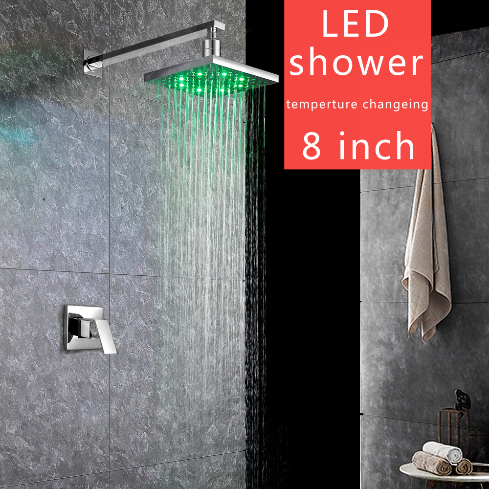 Wall Mounted LED Shower Faucet Concealed Bath Shower Mixer tap Bathroom for Rainfall Shower Set bathroom wall concealed antique shower faucet mixer black orb bathroom shower kit bath mixer set shower two function shower set