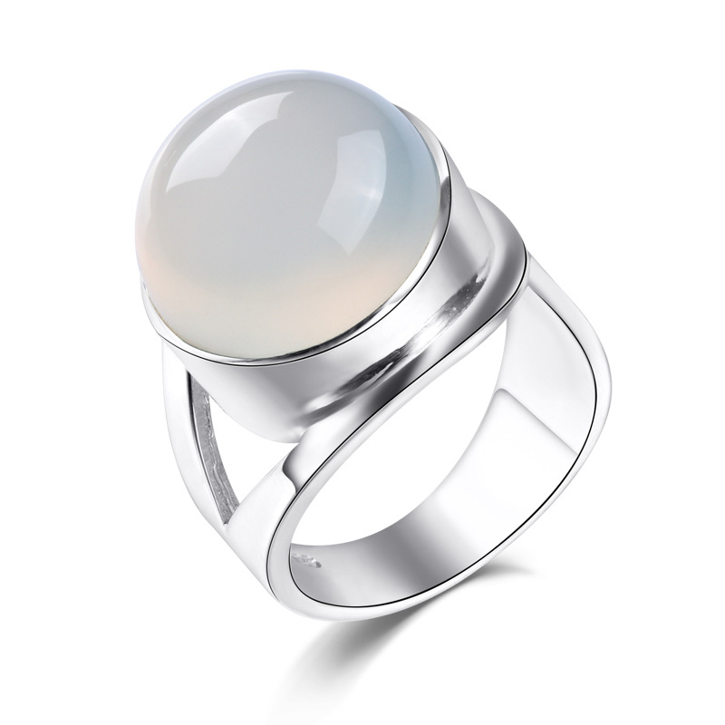 925 sterling silver Female jewelry Natural semi-precious stone white chalcedony high-quality open rings retro simple lovers gift 925 sterling silver jewelry natural semi precious stones retro yellow chalcedony earring classical retro girlfriend gift