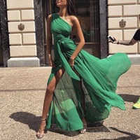 BKLD Women Sexy High Split Chiffon Maxi Dress One Shoulder Dress 2018 Summer Long Beach Dress Elegant Ladies Lace Up Party Dress