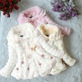 Meninas do bebê Jaqueta Casaco de Lã da Pele Do Falso Partido Pageant Quente Xmas Snowsuit 1-5Years