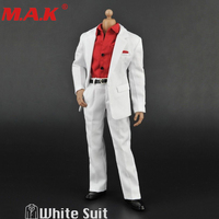 1:6 Scale Male white Suit Set Clothing ZY5006 Red T shirt Models for 12 Inches Action Figures Body Accessory