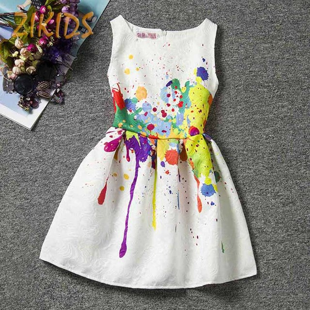 Buy girl dress summer style girls dresses for party casual creative art print - Creatie dressing ...