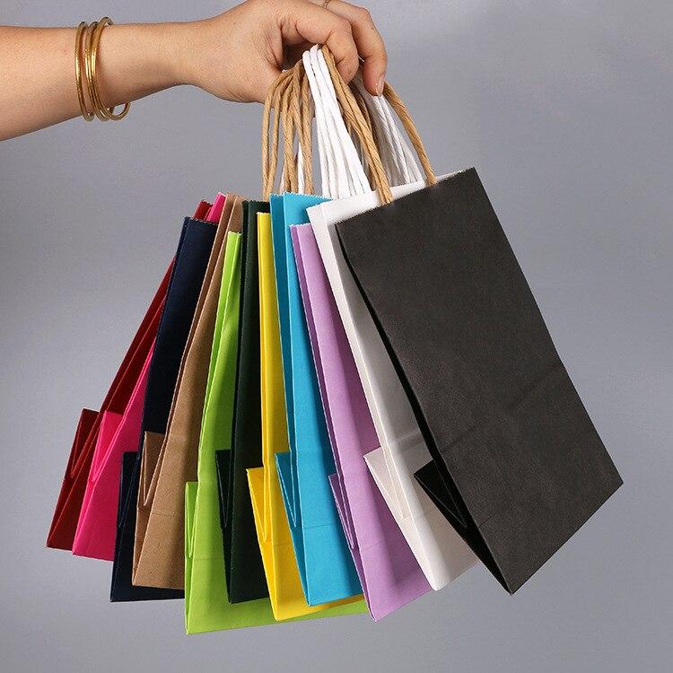 100 pièces 21x15x8 cm bricolage multifonction doux couleur papier sac avec poignées Festival cadeau sac sacs à provisions papier kraft personnalisable