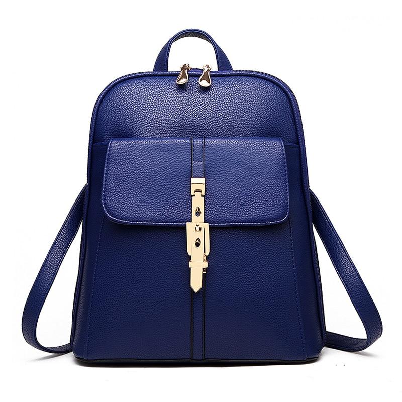 VSEN backpacks women backpack school bags students backpack ladies women's travel bags leather package Blue
