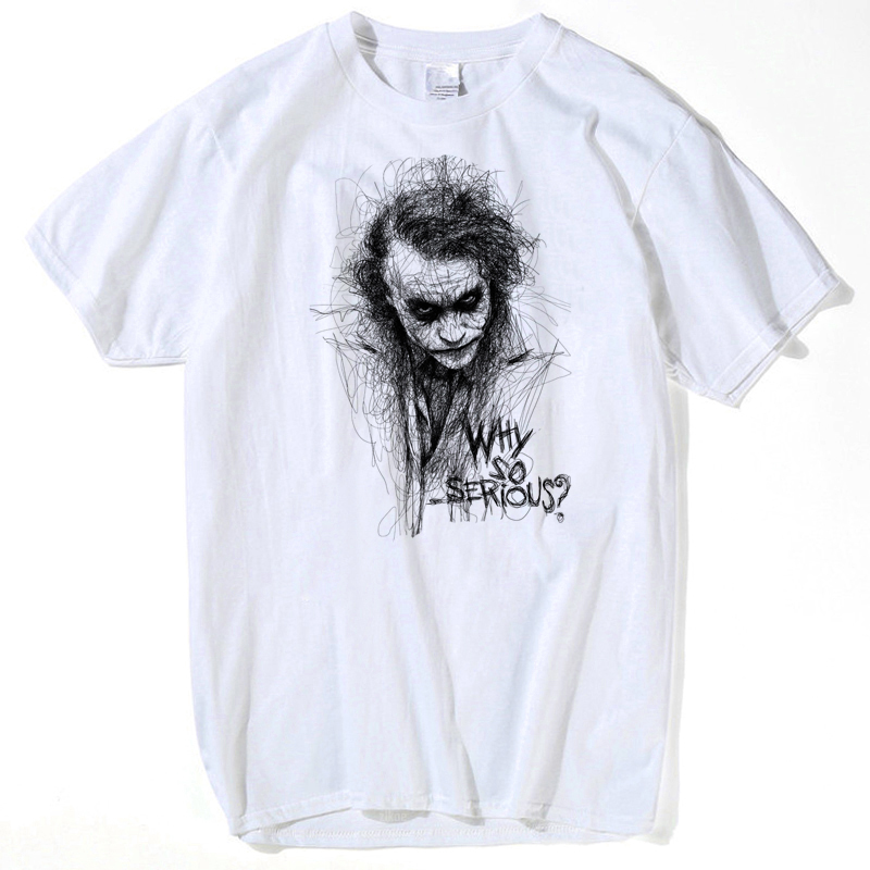Make T Shirts Online Printing Machine Men Joker The Dark Knight Heath Ledger Graphic O-Neck Short-Sleeve T Shirts S-xxxl