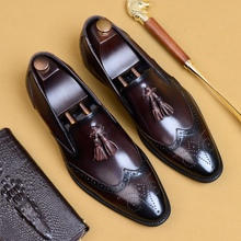 Vintage Design Genuine Leather Formal Wingtip Brogues Shoes Pointed Toe Slip on Men's Tassels Casual Loafers For Male AS204 цена 2017
