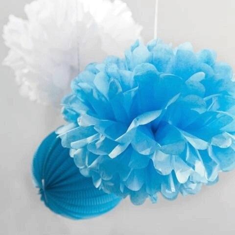 (blau, Weiß) Plissee Laternen Pom Poms Hängen Dekoration Papier Blumen Für Hochzeiten Duschen Braut Duschen Kindergärten