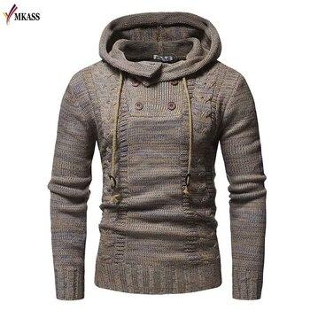 2018 Mens Wool Sweater Pullover Long Sleeve Hooded Sweatcoat Sweater Jumper Knitwear Winter Cashmere Outerwears Male M-XXL