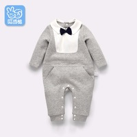 Dinstry Newborn Baby Romper Jumpsuit Spring And Autumn Gentleman Long Sleeved Clothes