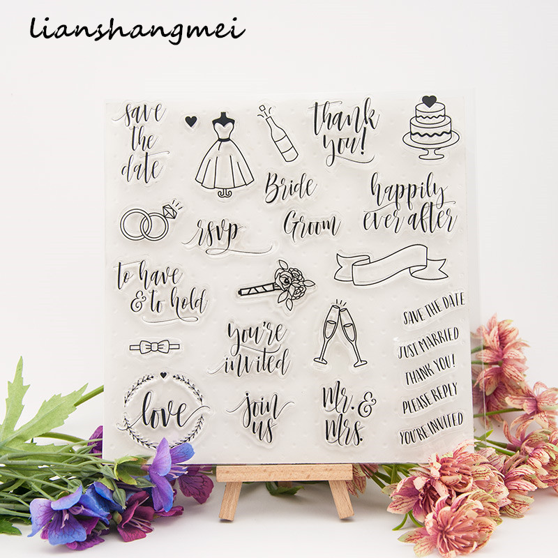 Wedding greeting card Transparent Clear Silicone Stamp/Seal for DIY scrapbooking/photo album Decorative clear stamp lovely bear and star design clear transparent stamp rubber stamp for diy scrapbooking paper card photo album decor rm 037