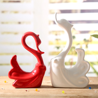 2pcs Ceramic swan ornaments set home decoration crafts furnishings modern living room red and white animal swans figurines gift