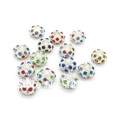 12mm 120pcs alloy cz crystal spacer beads colorful shamballa beads fit bracelet pendant beads wholesale Free Shipping