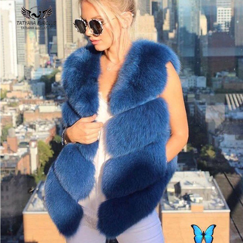 Tatyana Furclub Ragazza Gilet di Pelliccia Reale Naturale Pelliccia di Volpe Cappotto Della Maglia Reale del Rivestimento Delle Donne Reale della Pelliccia di Fox di Modo del Rivestimento Caldo di Pelliccia della ragazza