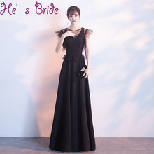 0421c1e0fa Evening Dress Elegant Black Scoop Neck Short Sleeves Lace Up Back A Line  Floor Length Satin Lace Simple Modern Party Prom Dress