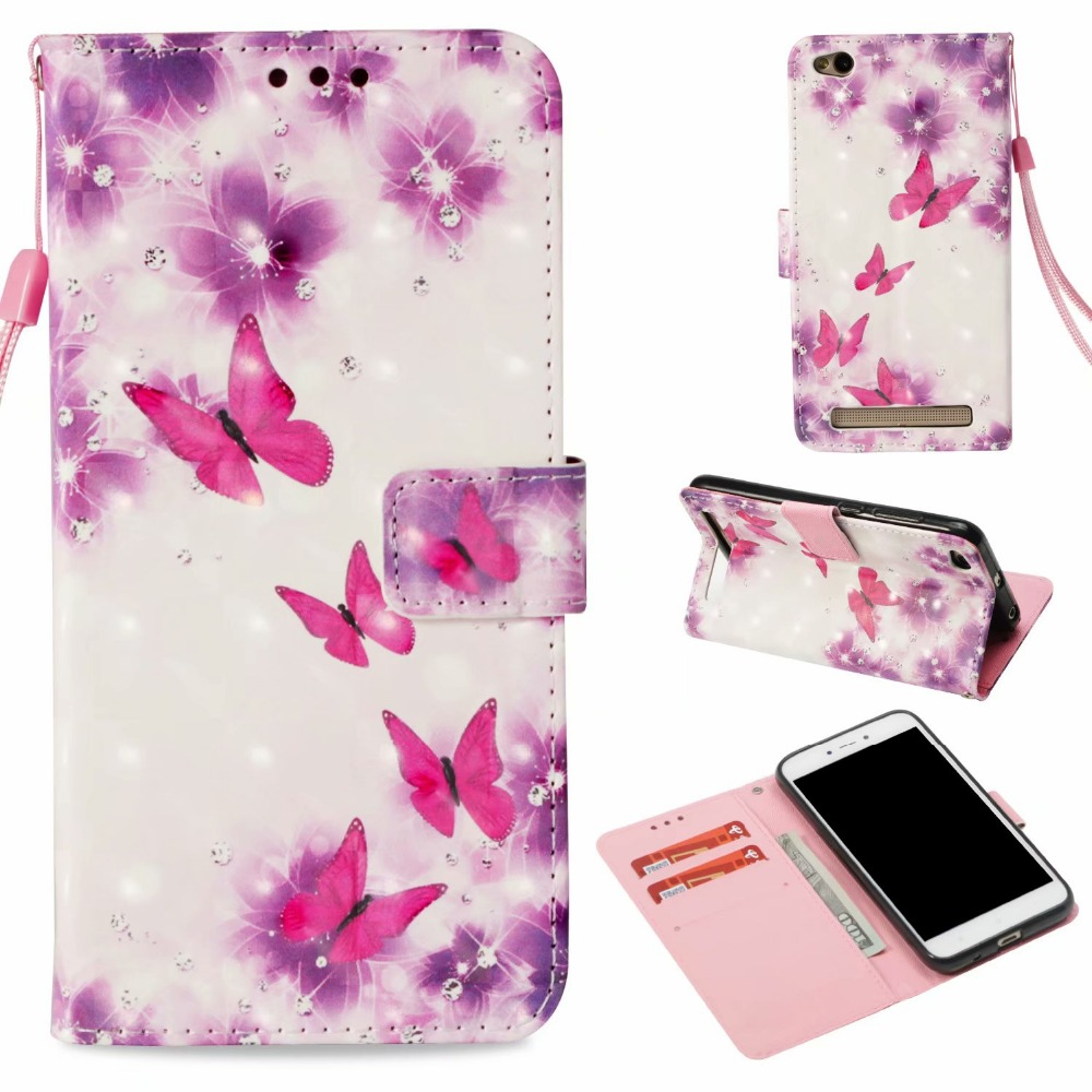 3D Embossed Unicorn Butterfly Owl Wallet Leather Case Capa PU Leather Flip Cover Cases Coque For Xiaomi Redmi 5A