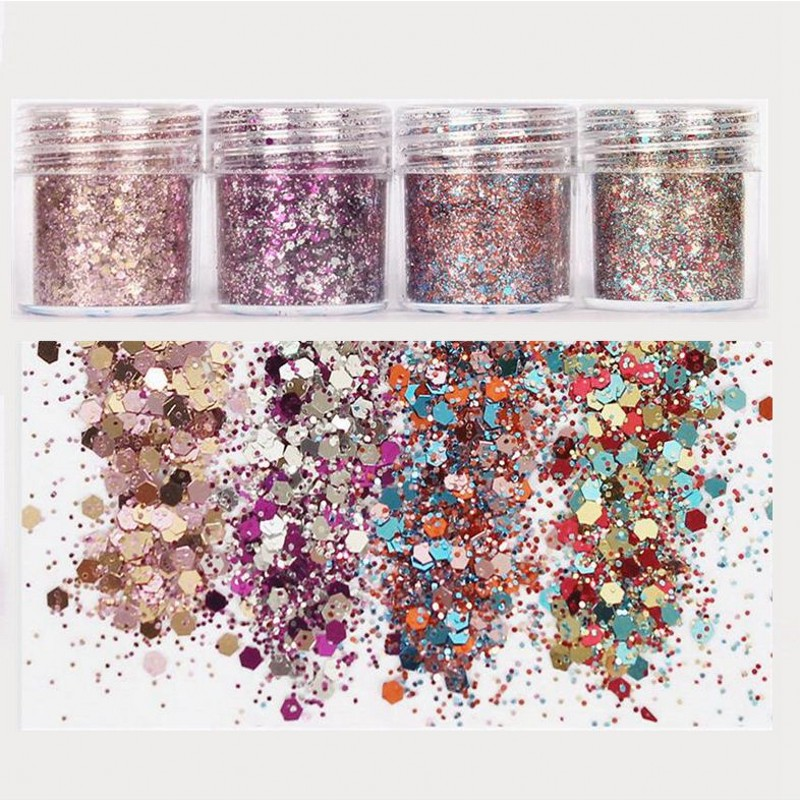 10ML/Box Nail Art Acrylic Gel Glitter Gradient Face/Boday Mix Haxagon + 1mm Powder For Decoration 4 Colors MA03
