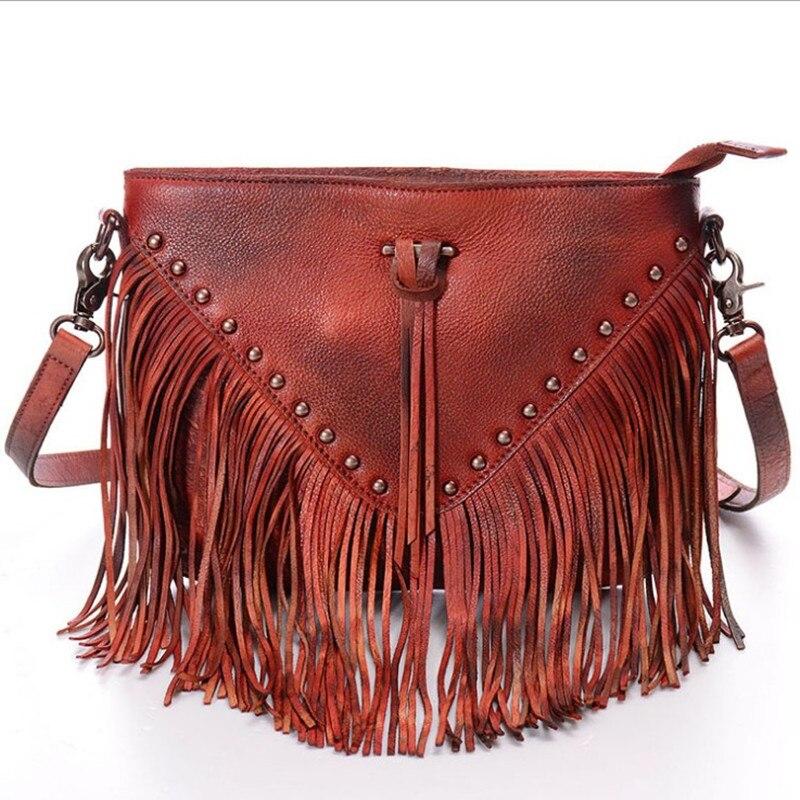 2016 New Women Lady Genuine Leather Vegetable Tanned Leather Tassel Rivet Handbags Handbag Shoulder Bag Crossbody Messenger Bags cooler noctua nh d15 1156 1155 1150 1151 2011 2011v3 am2 am2 am3 am3 fm1 fm2 fm2