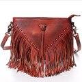 2016 New Women Lady Genuine Leather Vegetable Tanned Leather Tassel Rivet Handbags Handbag Shoulder Bag Crossbody Messenger Bags