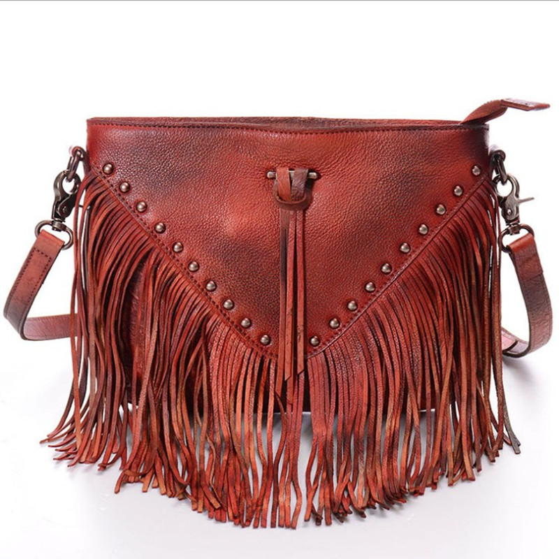 2017 New Women Lady Genuine Leather First Layer Cowhide Tassel Rivet Handbags Handbag Shoulder Bag Crossbody Messenger Bags luxury genuine leather women s day handbag all match panelled small bags first layer of cowhide messenger bag women s clutch bag