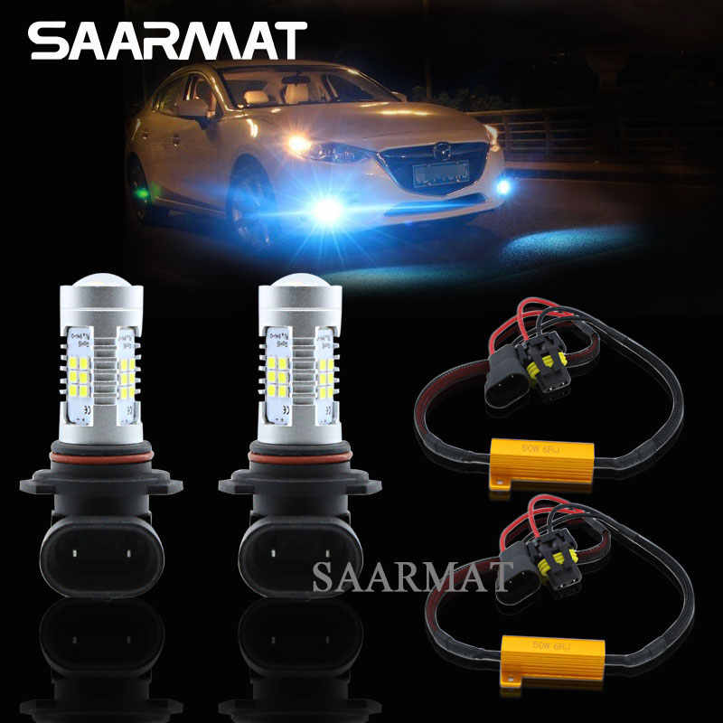 Pair 9006 HB4 LED Fog Light Daytime Running Lamp DRL Bulbs +Canbus Decoders For BMW 5 Series E60 E63 E64 E46 330ci  M3 E46 330ci