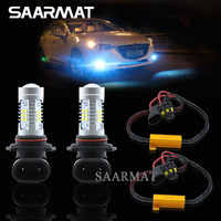 Paire 9006 HB4 LED antibrouillard feux diurnes DRL ampoules + Canbus décodeurs pour BMW série 5 E60 E63 E64 E46 330ci M3 E46 330ci