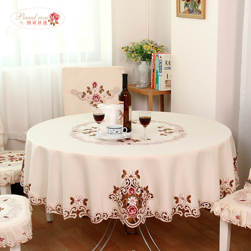 Stolt Rose Elegant Round Table Cloth Fashion Broderi Fabric Art Dukduk Modern Rural Style Round Dukduk gratis frakt