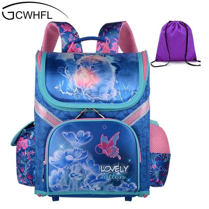 GCWHFL Girls School Backpacks Children School Bags Orthopedic Backpack Cat Butterfly Bag For Girl Kids Satchel Knapsack Mochila