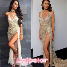 2018 new fashion sexy sling back deep women summer V-neck dress Laipelar