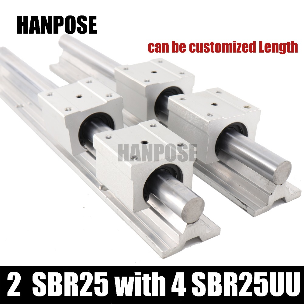 linear guide SBR25 linear rails shaft support L200/300/400/500-1000MM and 4 SBR25UU linear bearing blocks for CNC Router Parts