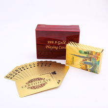 DUBAI Golden Playing Cards Packing With Wooden Box PVC Waterproof Game Durable Creative Poker Gift