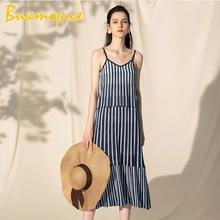 CHARAS brand flax dress women's Sling dresses High quality fabric stripe irregular knitting Female Bohemia Beach