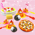 18pcs/Lot  DIY Cutting Birthday Cake or pizza  Kids Baby Early Educational Classic Toy Pretend Play Kitchen Food Plastic Toy