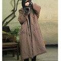 СПОКОЙНО 2016 Зимняя Куртка Женщин Плюс Размер Ручной Кнопки Пластины Толщиной с Большой Капюшон Ватные Куртки Свободные Хлопка мягкий