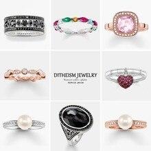 Красочные камни обручальные кольца, 925 пробы серебро Модные украшения Мода вечерние подарок для Для женщин девочек