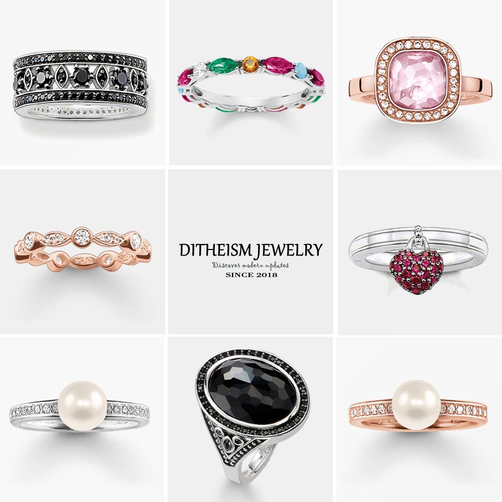 Colorful Stones Wedding Bands Rings, 2018 New 925 Sterling Silver Fashion Jewelry Trendy Party Gift For Women Girls