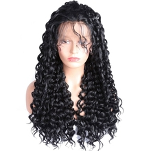 DLME pre plucked deep curly lace front wig black hair hand made glueless synthetic wigs with natural hairline for 20inch women