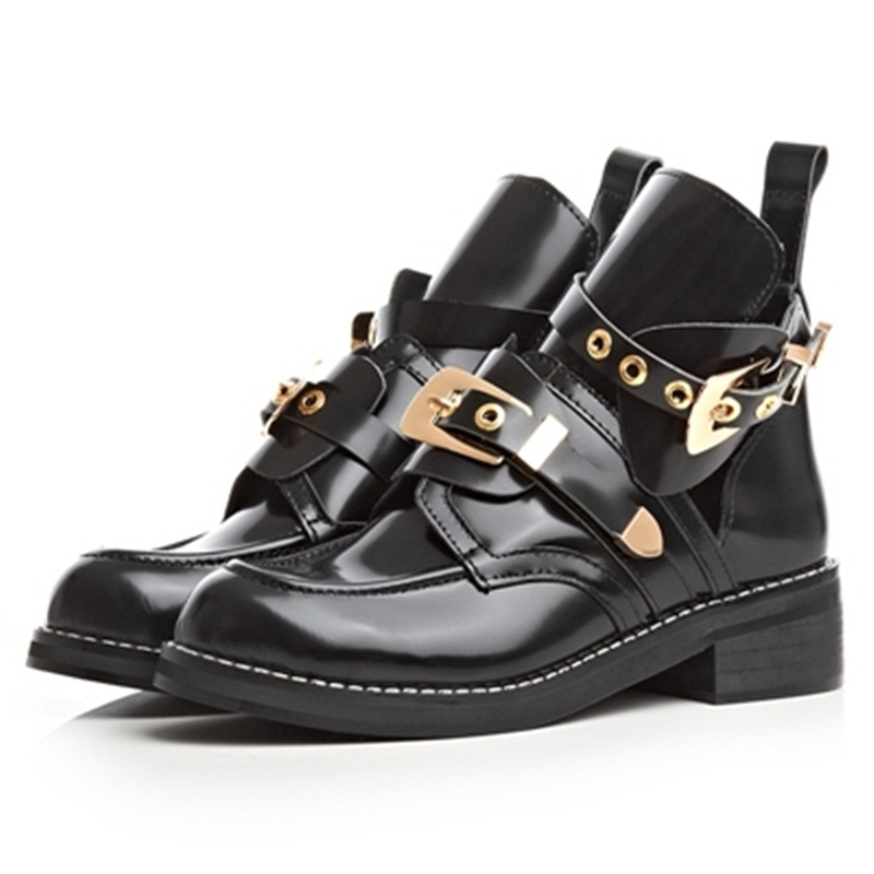 ФОТО 2016 new full genuine leather boots round toe black Buckle Strap autumn winter ankle boots sexy martin motorcycle boots