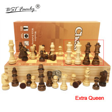 лучшая цена 4 Queens Magnetic Wooden Chess Set 2019 Hot International Chess Game Wooden Chess Pieces Folding Wooden Chessboard Gift Toy I55