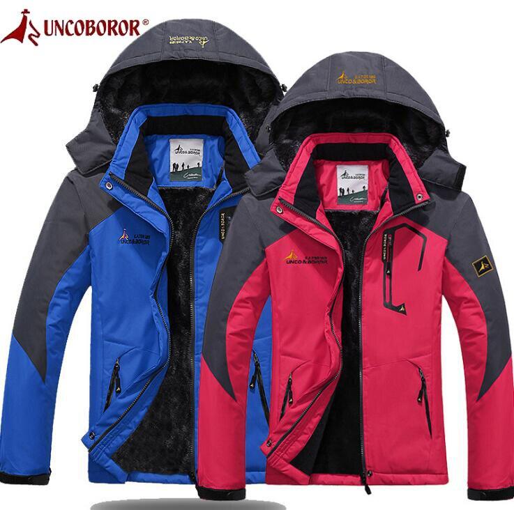 UNCO&BOROR Men Women Hiking Ski Jackets Waterproof Soft Shell Jacket Lovers Sport Outdoor Climbing Skiing Winter Clothes