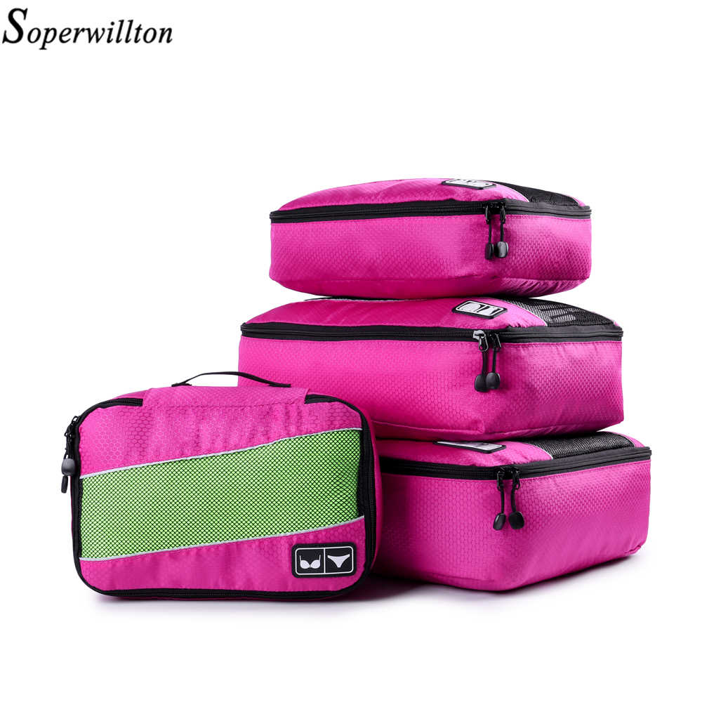 e169a25f501d ... Soperwillton Сумка-тоут для путешествий Упаковка Кубики набор дорожных  сумок 4 штук 8 штук путешествия ...