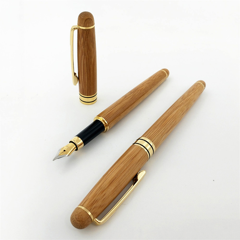 Creative Brand Writing Bamboo Fountain Pen Elegant Office School Student Standard Ink Pens Stationery Gift