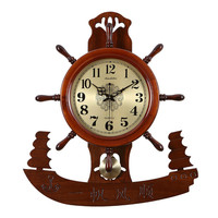 1PCS Chinese style Chinese boat rudder clock living room Retr solid wood new classical shaped clock 20 inches large LU614950