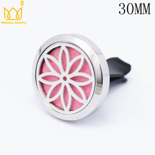 Top Quality 30mm 316L Stainless Steel Car Accessories Essential Oil Diffuser Locket Clip Aromatherapy Pendants 10 Free Pads