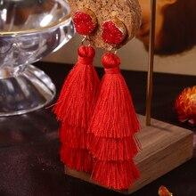 HOCOLE 3 Layered Bohemian Fringed Crystal Tassel Earrings For Women Long Drop Dangle Earring Statement 2019 Boho Indian Jewelry