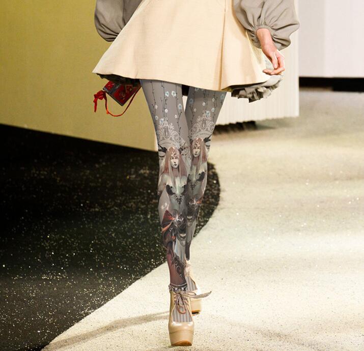 Autumn/Winter Japanese Anime Character Print Women Fashion Tight Velvet Pantyhose Hosiery