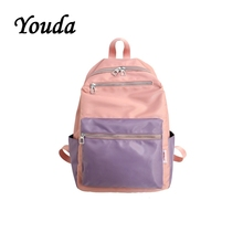 Youda Korean Womens School Bag College Style Canvas Bags Girl Simple Stitching Color Light Backpack Large Capacity