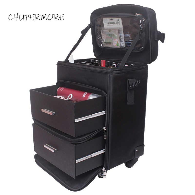 a9b79d16510b Удобная косметичка многофункциональный большой емкости прокатки Чемодан  Spinner бренд Профессиональный дорожные сумки чемодан на колесах