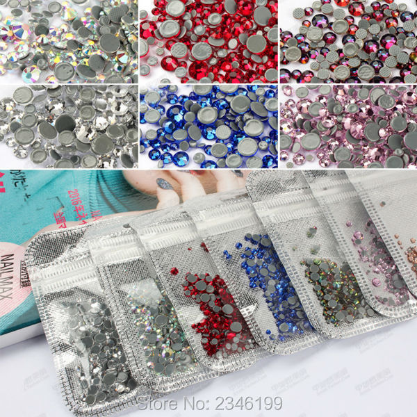 1Set Mixed Sizes and Colors About 300pcs Flatback Glass Crystal, Non hotfix Flatbakc Rhinestones for Nails, Nail Art Decorations 1set glass